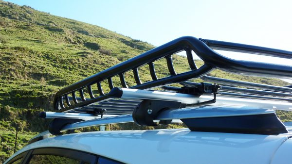 Small Heavy Duty Steel Roof Cage mounted on Aluminium Roof Rack Cross Bars